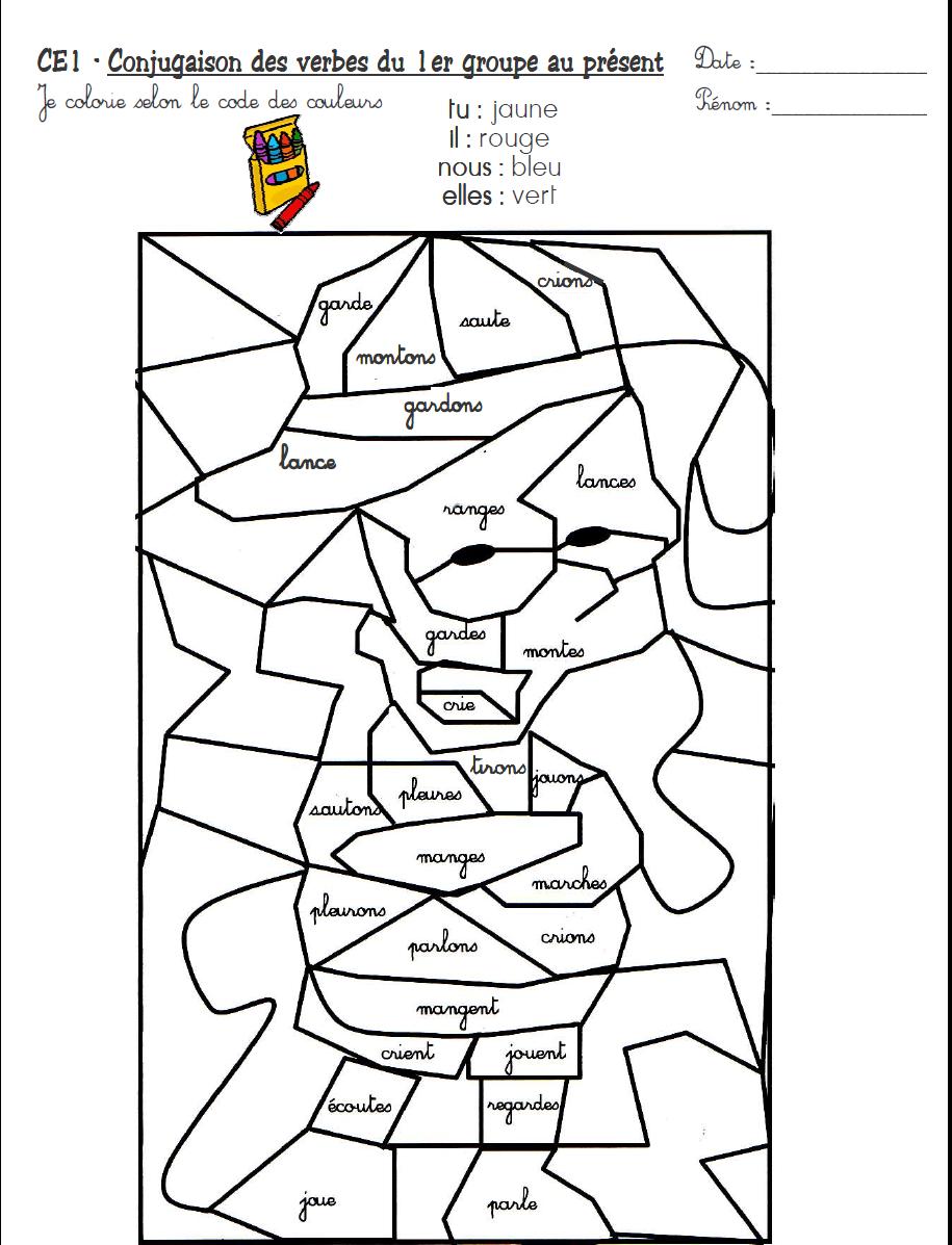Coloriage magique ce2 conjugaison coloriage magique laclassebleue ecole coloriage magique - Grammaire ce1 a imprimer ...