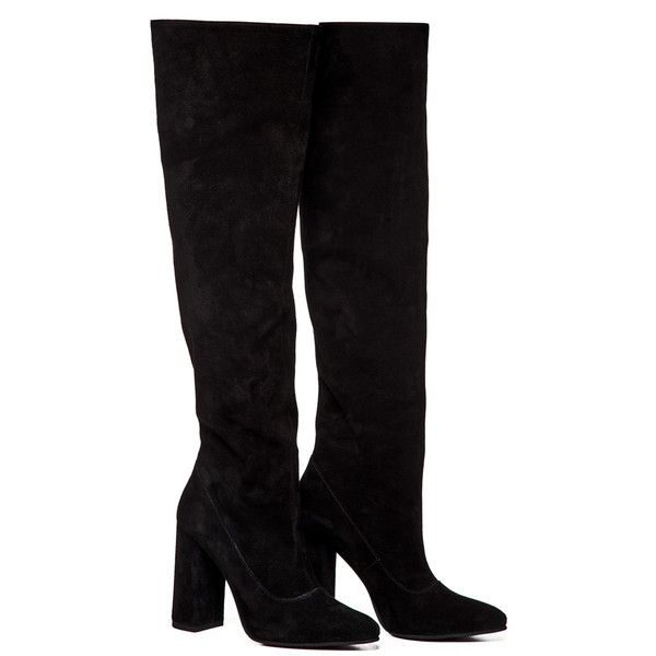 Anouki Black Suede Knee High Boots (13,965 MXN) ❤ liked on