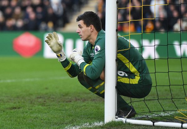 Eldin Jakupovic of Hull City instructs the wall during the Premier League match between Hull City and Liverpool at KCOM Stadium on February 4, 2017 in Hull, England.