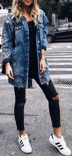 #fall #fashion / all black + denim