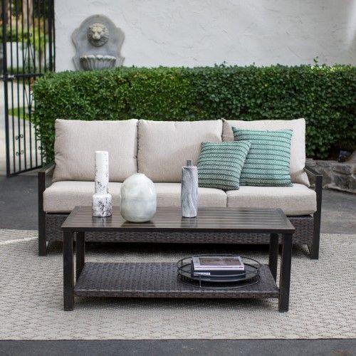 Amazing Belham Living Santos Aluminum And Wicker Sofa And Coffee Bralicious Painted Fabric Chair Ideas Braliciousco