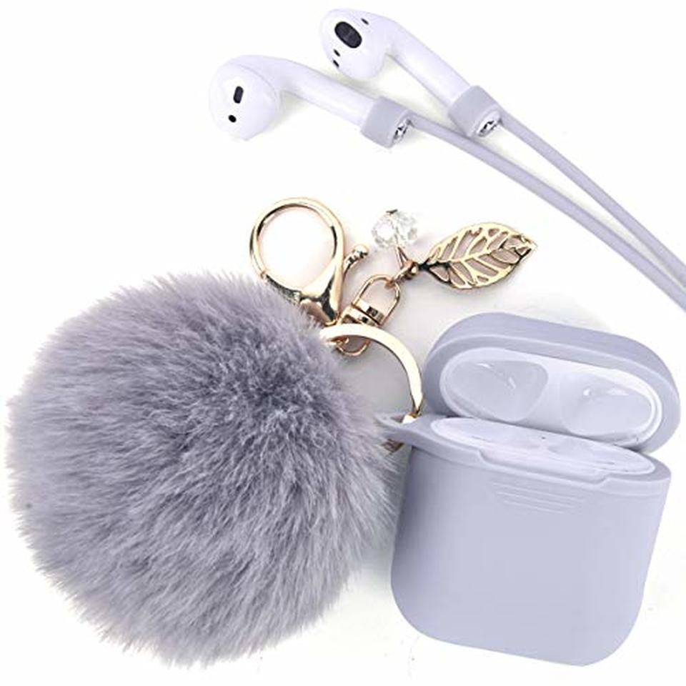 Airpods Case Keychain Jasonna Airpods Silicone Case Cover With Fur Ball Keychain Strap Beautiful Pendant For Ap In 2021 Cute Ipod Cases Keychain Phone Case Accessories