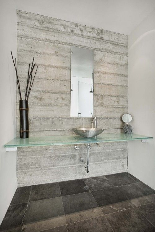 Idea Wood Paneling Laminate Wipeable On One Wall Behind Mirrors Greyish Tones To Make It Look L Modern Bathroom Design Bathroom Wall Panels Modern Bathroom