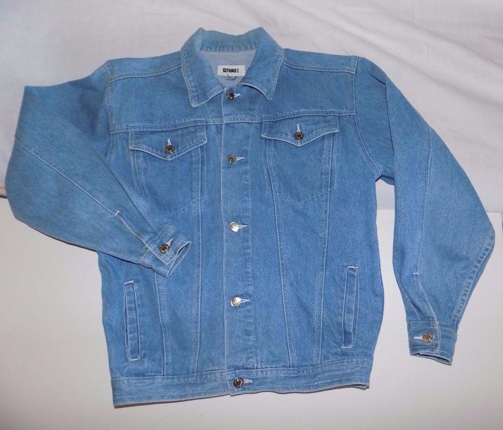 7392d8858a Womens M L Denim Trucker Jacket Vintage 80s 90s Gitano Jeans Light Wash