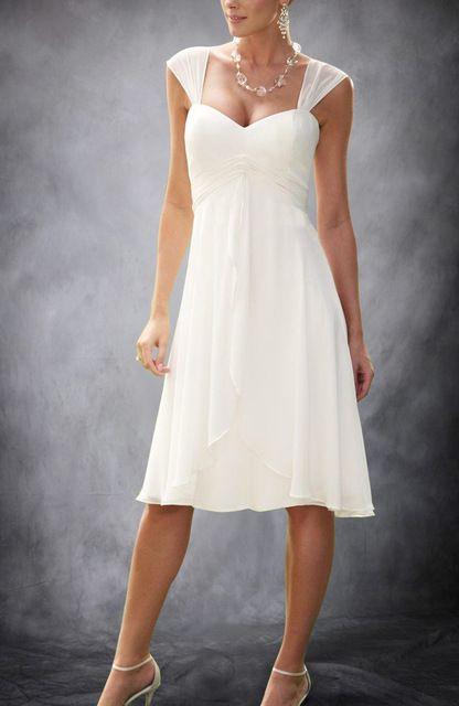 Online Shop Summer Short Cap Sleeves Chiffon Informal Beach Tea Length Wedding Dress Knee Length Wedding Dress Tea Length Wedding Dress Casual Wedding Dress