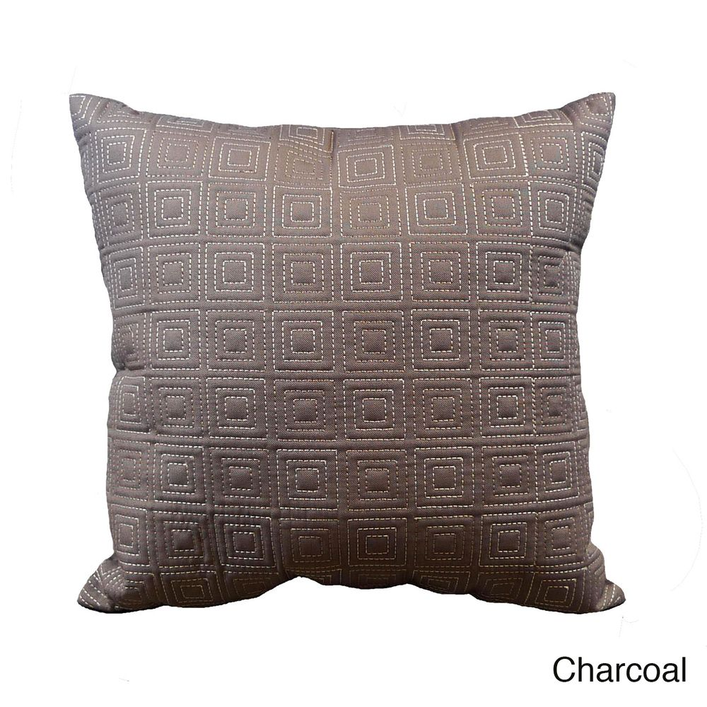 'City' Solid Geometric Embroidered 18x18-inch Throw Pillows (Set of 2) | Overstock.com