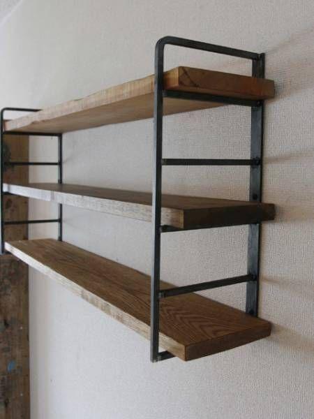 ラダーシェルフショート/壁付け飾り棚用DIYパーツ/黒皮鉄製_
