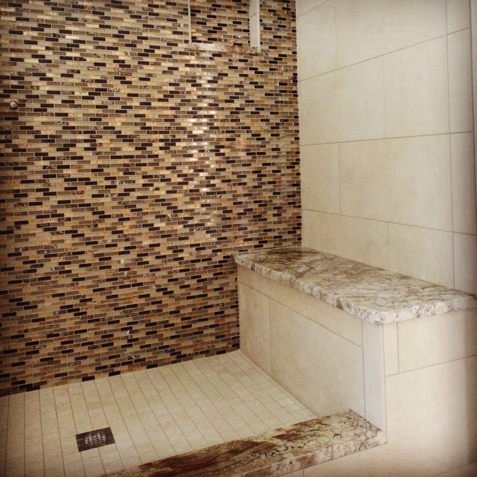 """Ideal Accent Wall Tile Placemnt: 12""""x24"""" Porcelain Tile Installed W/ Glass Mosaic Tile"""