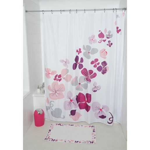 rideau de douche collection hawai 180 x 200 cm fleurs roses rideau de douche pinterest. Black Bedroom Furniture Sets. Home Design Ideas