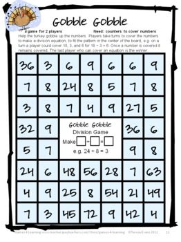 Turkey Math Games For Multiplication And Division Thanksgiving