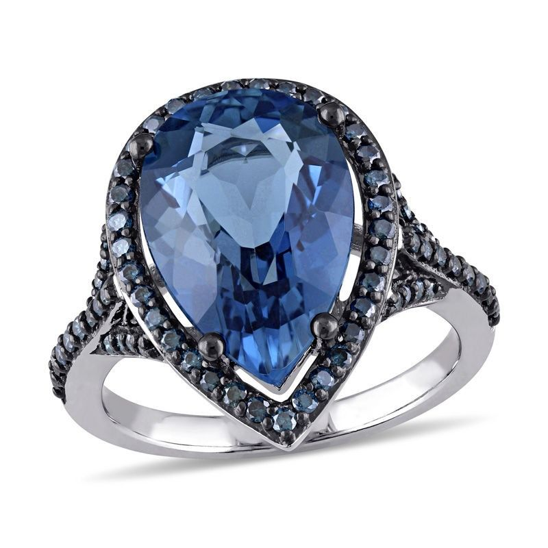 Pear Shaped London Blue Topaz And 1 2 Ct T W Enhanced