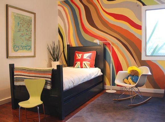 wavy painted stripe walls paint ideas Pinterest Painted