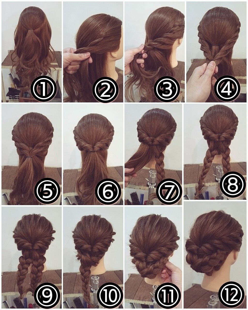Hair braid bun peinados pinterest hair style updos and makeup