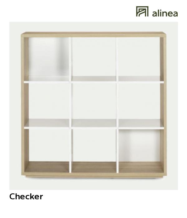 alinea : checker bibliothèque 9 cases design scandinave ameublement
