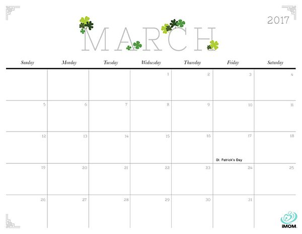 2017 Printable Calendar for Moms | Printable calendars and Organizing