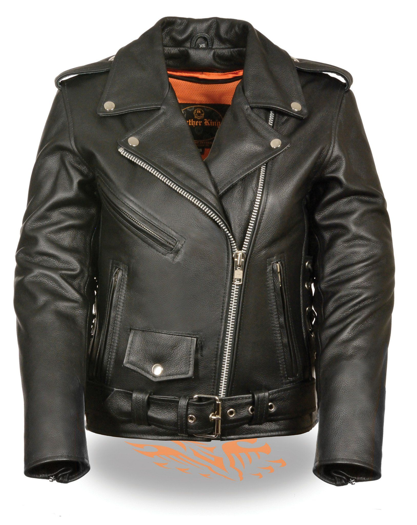 WOMEN'S MOTORCYCLE TRADITIONAL POLICE LEATHER JACKET