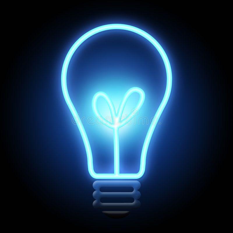 Light Bulb Blue Color Light Bulb On Dark Night Background
