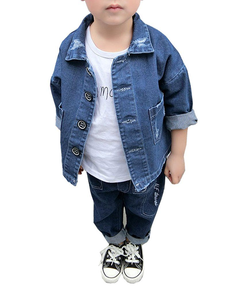 0f0c59c49445a Toddler and Little Boys Loose Fit Simple Style Ripped Denim Jacket ...