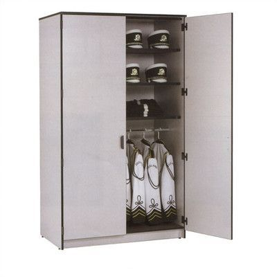 Fleetwood Harmony 2 Tier 1 Wide Instrument Storage Cabinet with Storage Shelf Locker Body/Trim: Etched Grey/Black, Door Style/Color: Heavy Duty Ste...