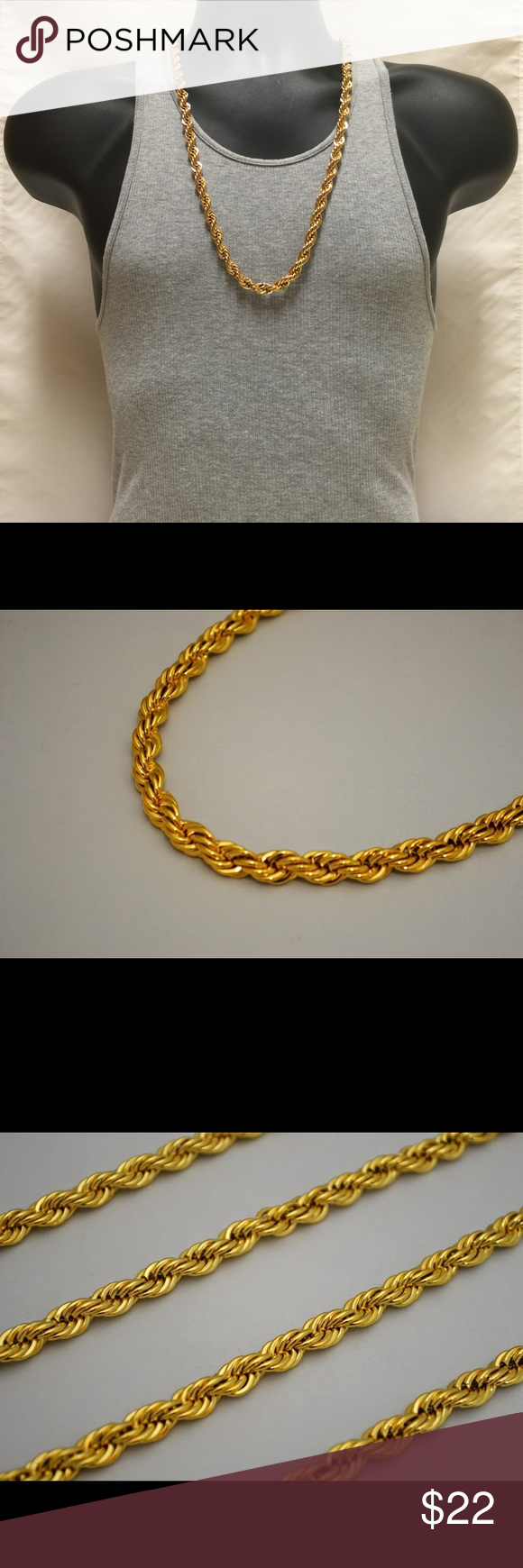 10mm 24k Gold Overlay French Rope Chain Necklace Gold Necklace Designs Necklace Designs Chain