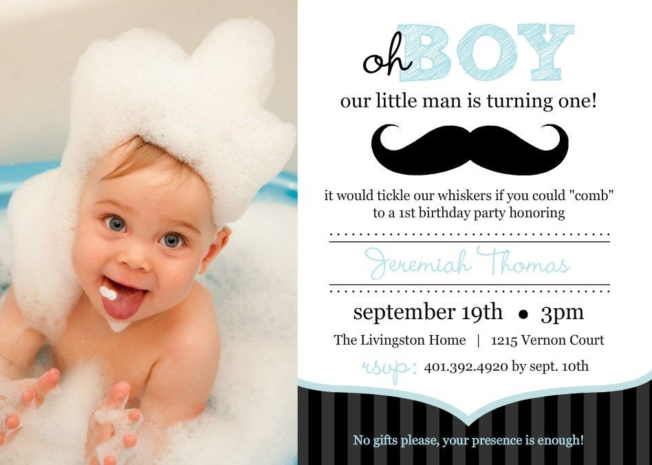Blue And Black Moustache Photo First Birthday Invitation By - Birthday invitation for one year baby