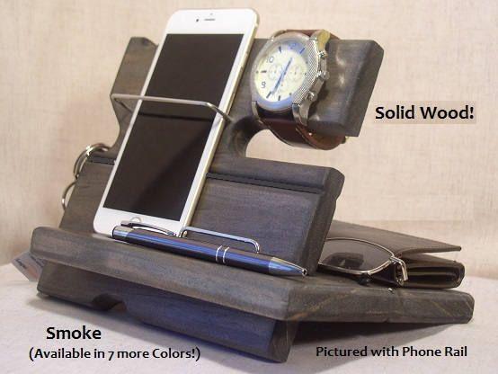 wood docking station charging station wooden cell phone dock this modern night stand valet. Black Bedroom Furniture Sets. Home Design Ideas