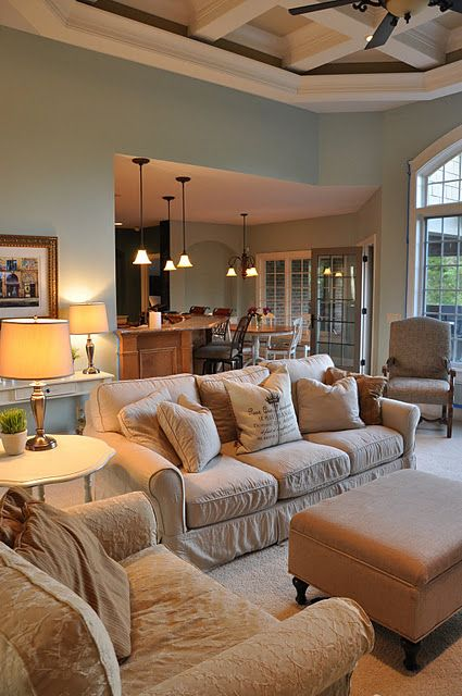 Possible wall color..Benjamin Moore Palladian Blue.  Shown here with neutrals but would also look great with chocolate brown.