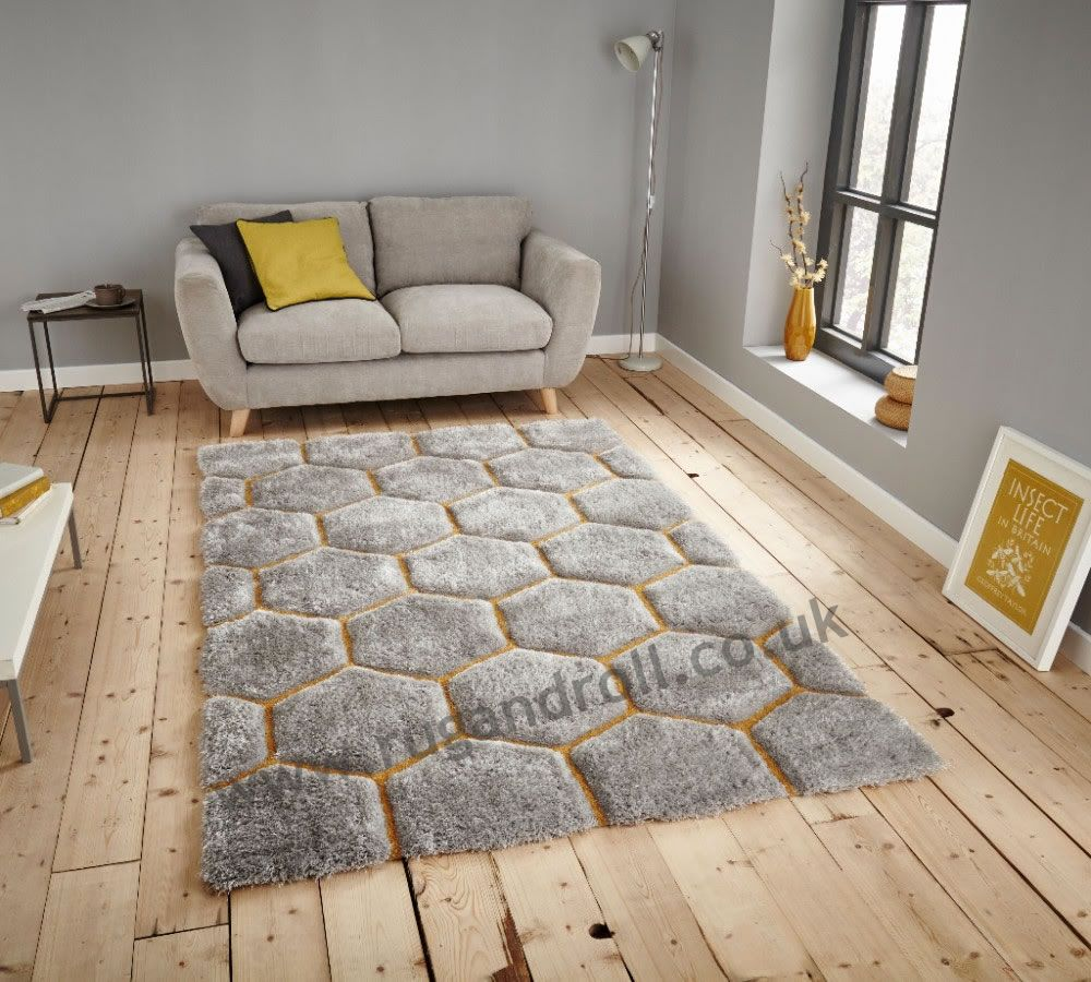 Think Rugs Noble House NH30782 Grey / Yellow