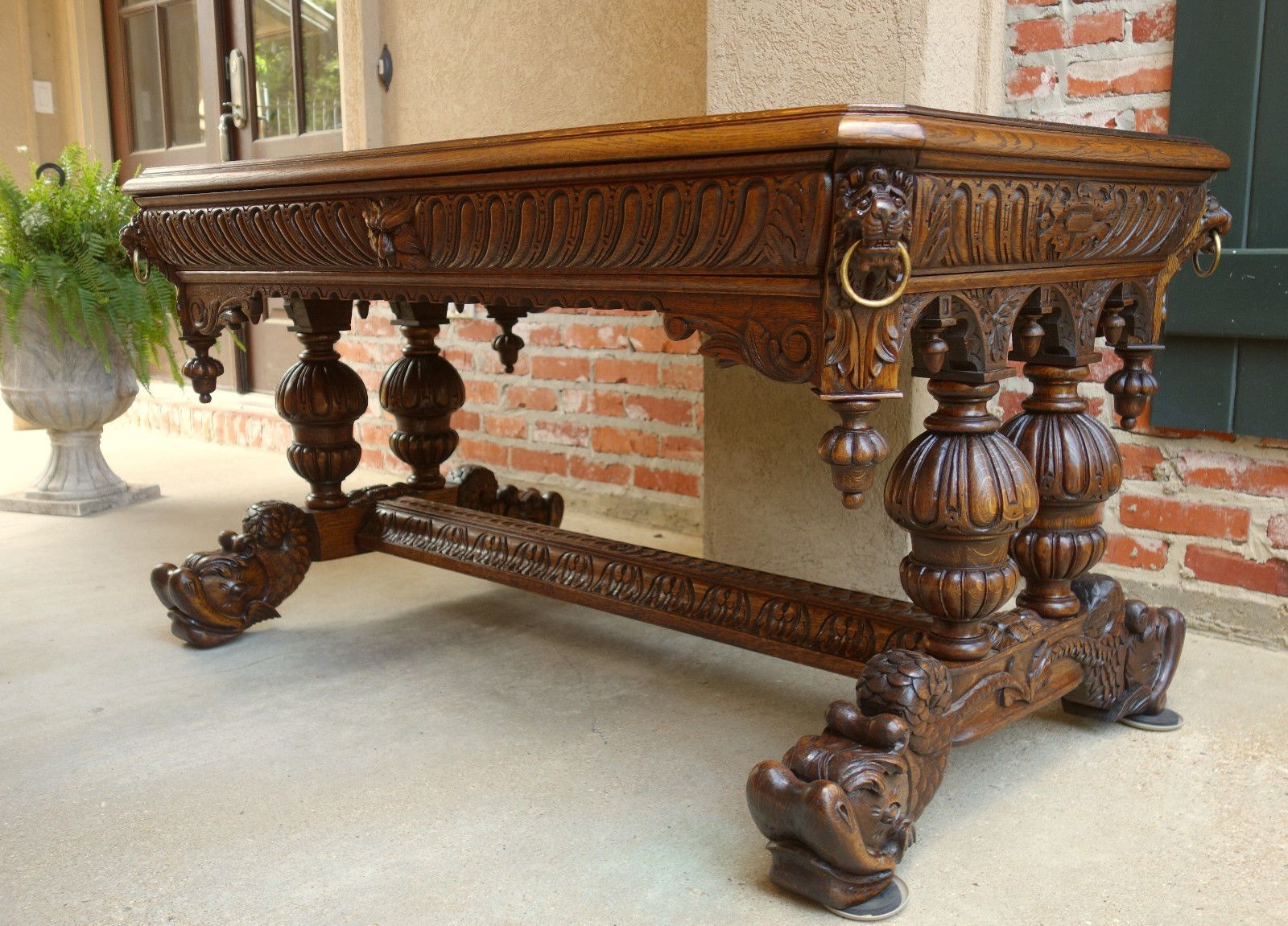Antique French Victorian Carved Tiger Oak Dolphin Table Desk Renaissance  Gothic | EBay