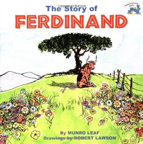 The Story of Ferdinand (Reading Railroad Books) by Munro Leaf, http://www.amazon.co.uk/dp/0448421909/ref=cm_sw_r_pi_dp_njVErb1WPQW0D