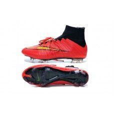 buy popular df049 c9767 Nieuwe Nike Mercurial Superfly IV FG Rood Zwart Goud goedkope  voetbalschoenen