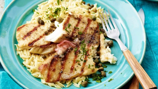 Get Grilled Tilapia with Lemon Butter, Capers and Orzo Recipe from Food Network