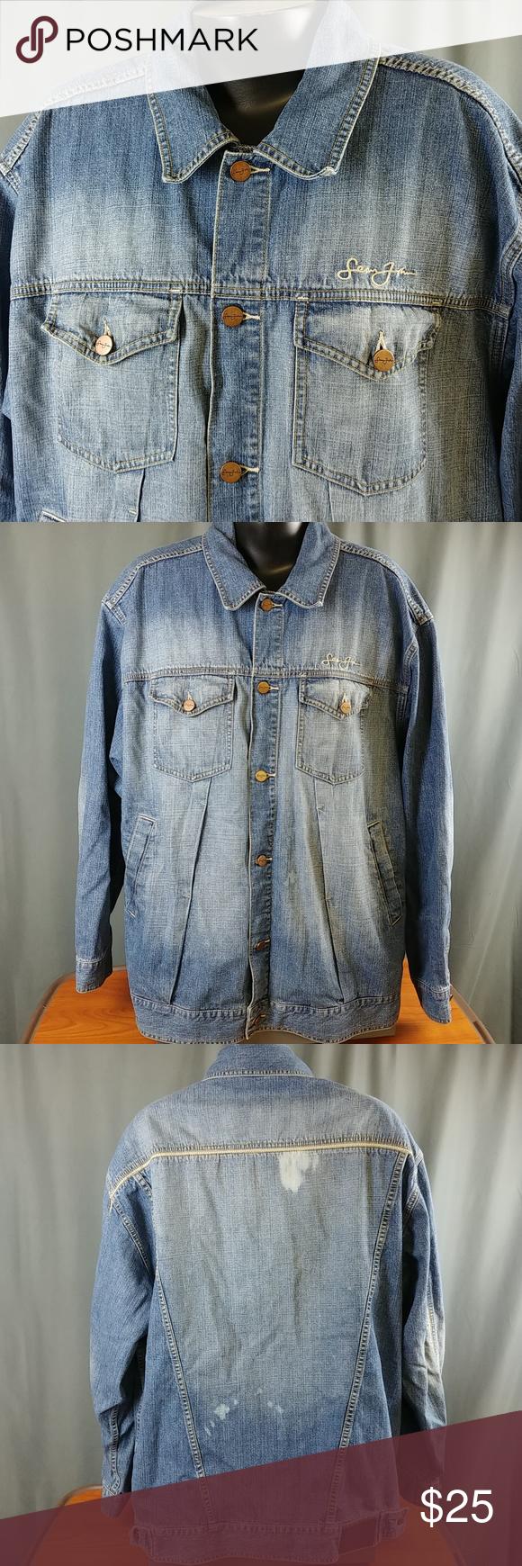 Sean John Denim Chore Coat Jean Jacket Bleach Flaw Jean Coat Urban Wear Jeans Wear [ 1740 x 580 Pixel ]