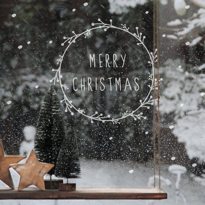 "Window sticker ""Christmas wreath"" Merry Christmas with snowf …"