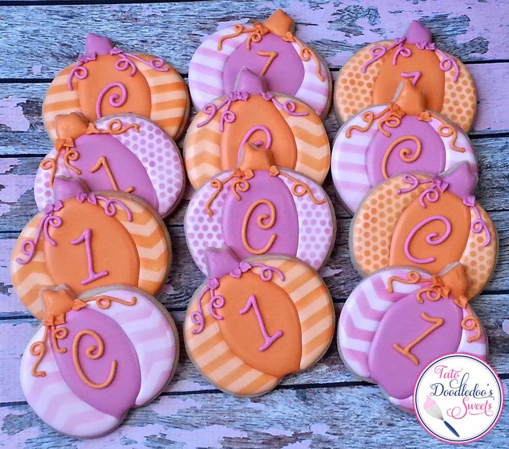 pink & orange pumpkin cookies, monogram, fall first birthday ...
