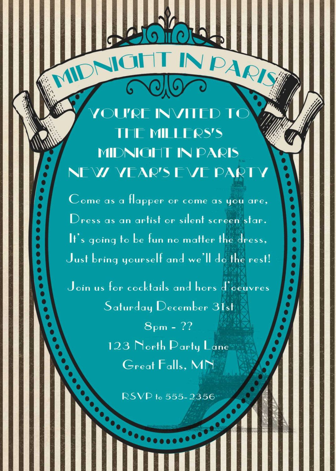 New Years Eve party invitation, Midnight in Paris