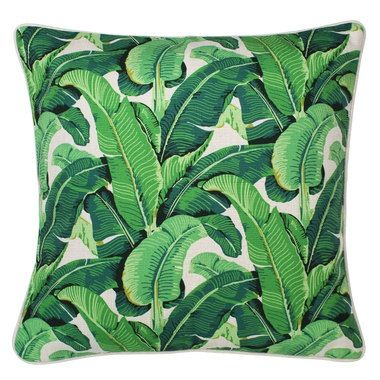 Image of Outdoor Cushion Cover- Banana Leaf on beige - 45cm x 45cm with piping