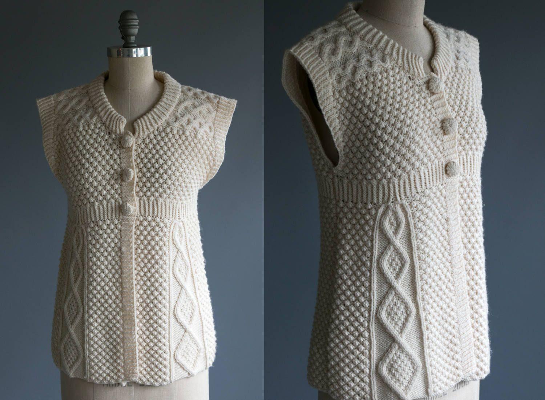 Vintage Irish Knit Wool Button Up Sweater / Vest / Top Women's ...