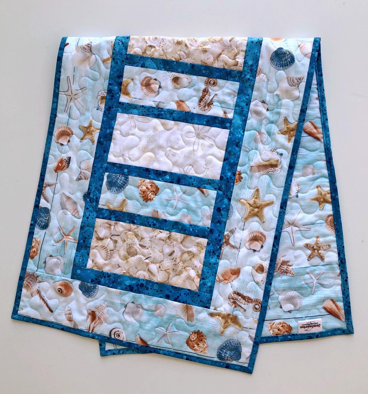 Beach Themed Quilted Table Runner 16 75 X 42 Etsy Beach Themed Quilts Table Quilts Quilted Table Runners