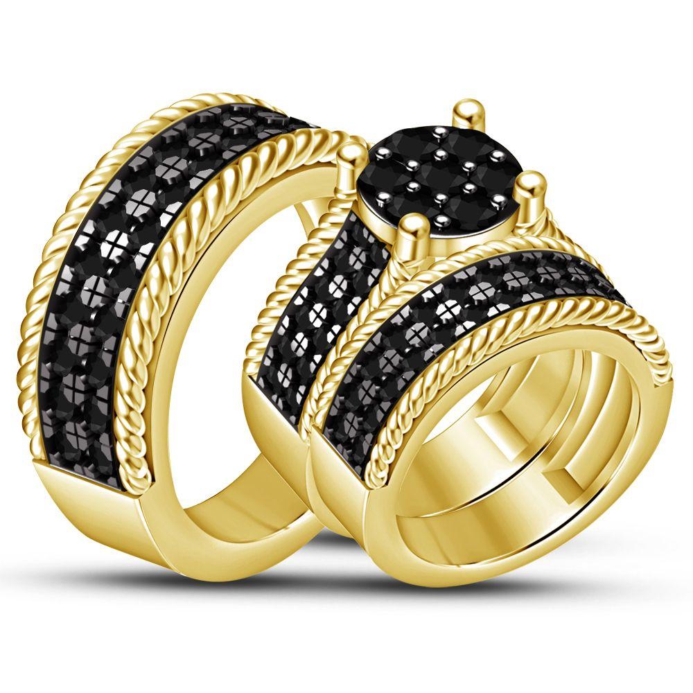 Black diamond wedding band engagement ring trio set 18k