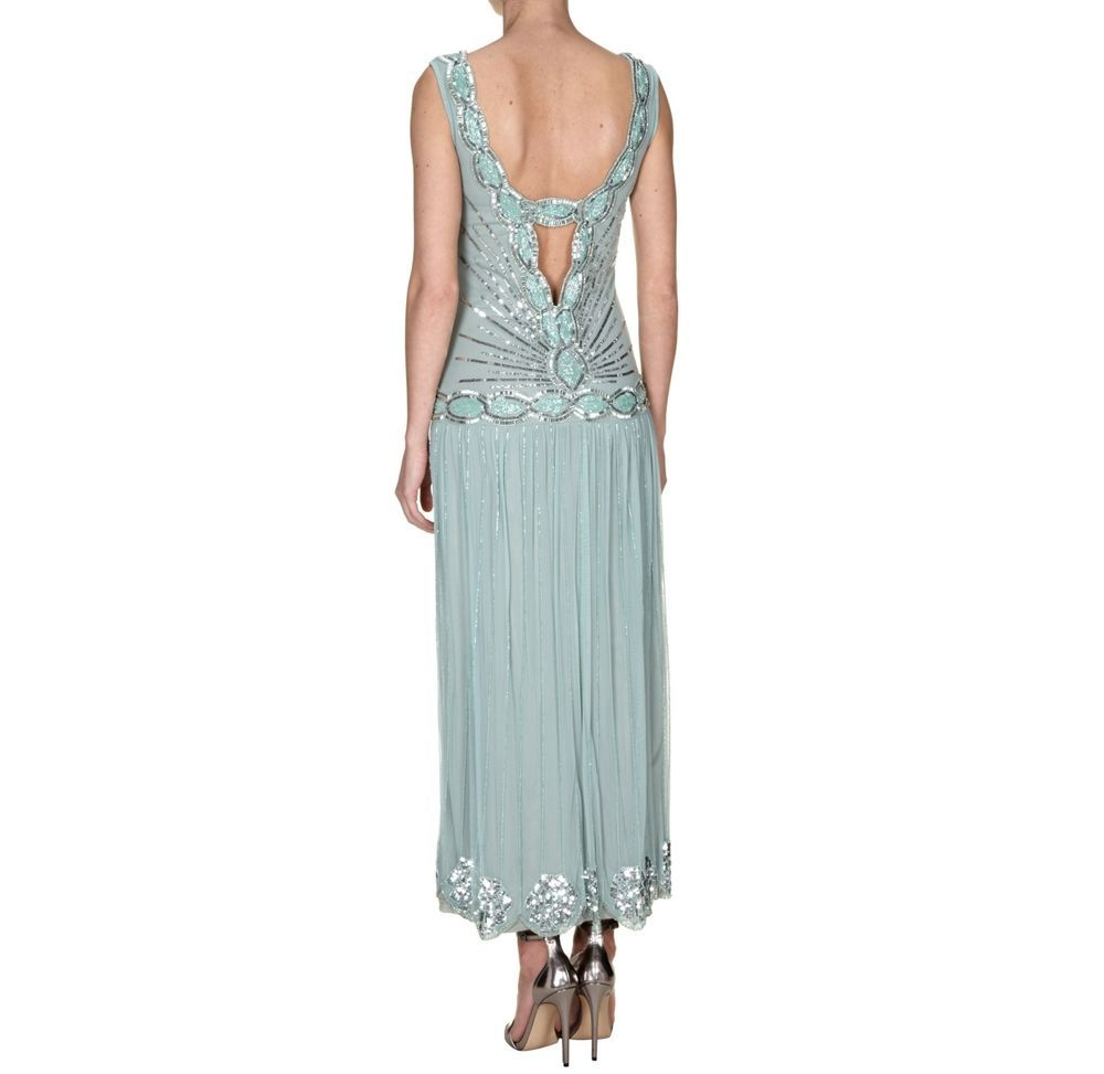 1920\'s MINT GREEN MAXI ART DECO FLAPPER GATSBY CHARLESTON DRESS 8 ...