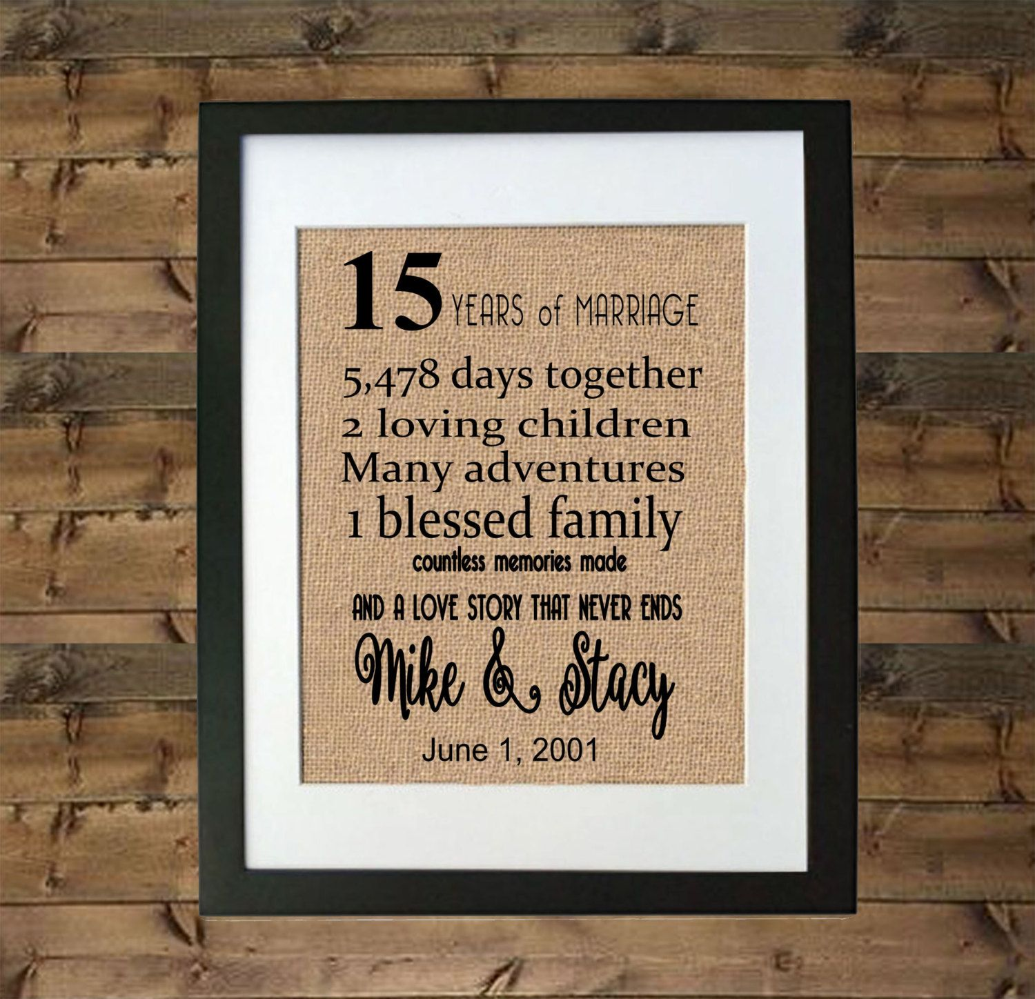 15 Year Anniversary Gift Framed Burlap Print Personalized For Her Him By Momakdesign On