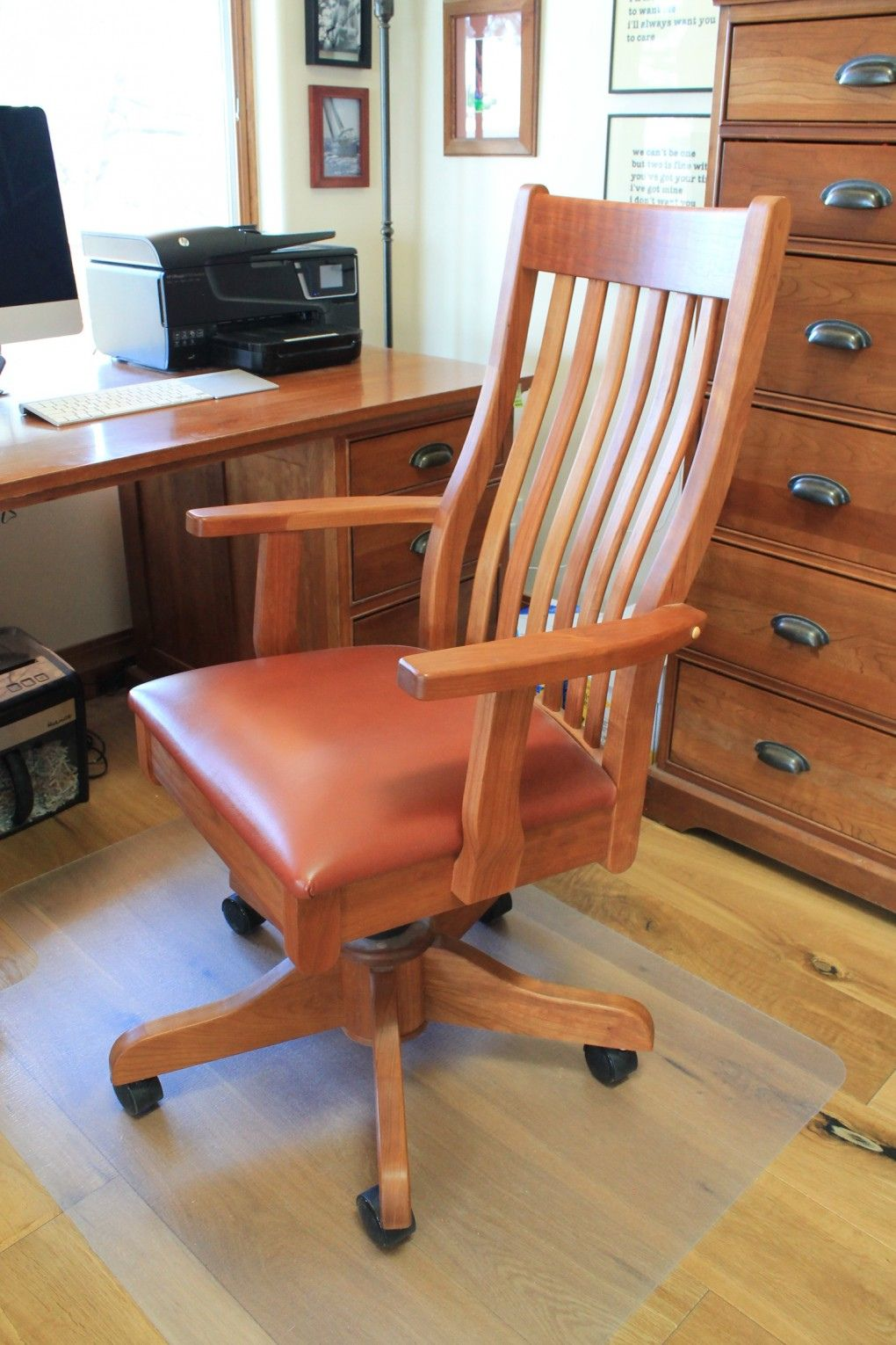 Cherry Wood Desk Chair   Space Saving Desk Ideas Check More At Http://
