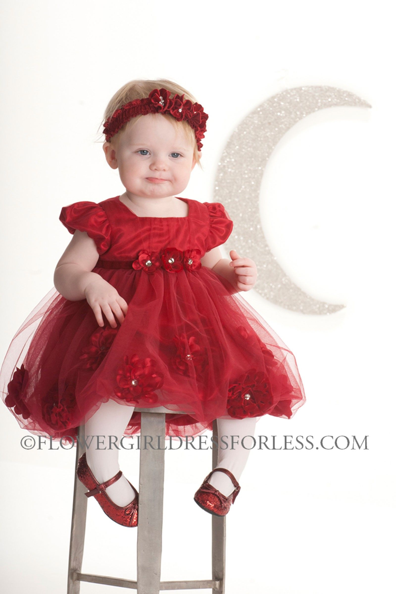 Biscotti Designer Girls Dress Style 197 Red Cap Sleeve Tulle and