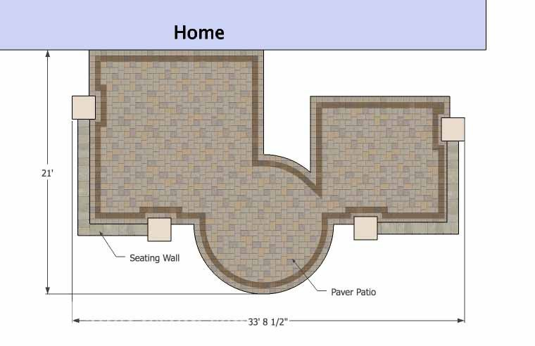 With 445 sq. ft., our Hot Tub Patio Design with Seat Walls lavishes it's guests with dining outdoors, a warm fire pit and/or a relaxing dip in the hot tub. #patiodesign