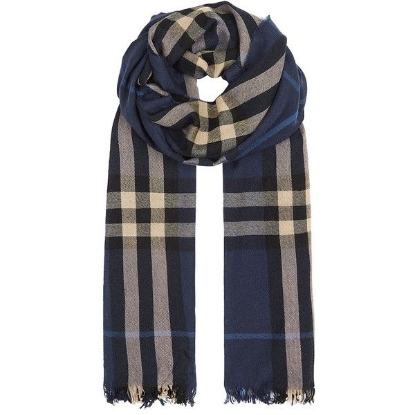 Burberry London Check Crinkled Scarf (1.105 BRL) ❤ liked on Polyvore featuring accessories, scarves, burberry, burberry shawl, burberry scarves, checkered scarves and wool scarves