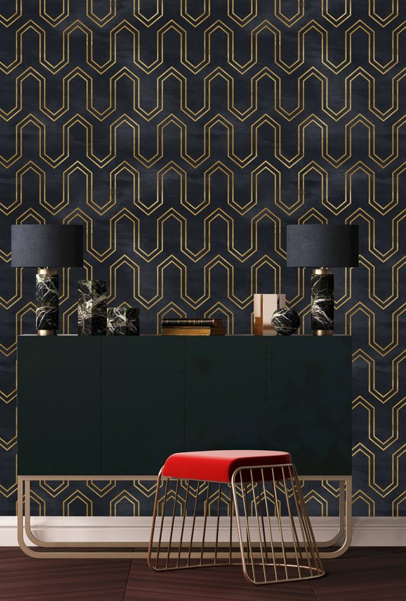 Removable Wallpaper Peel And Stick Wallpaper Self Adhesive Etsy Gold Geometric Wallpaper Home Peel And Stick Wallpaper