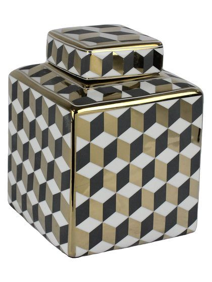 Small Cubes Covered Ceramic Jar by Sagebrook Home at Gilt