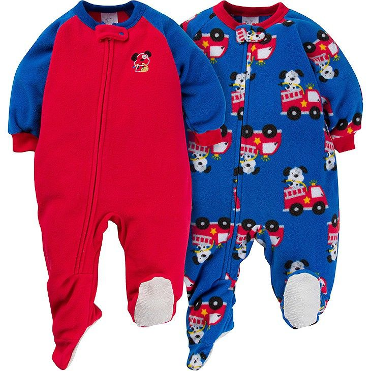 Gerber® Baby Boy Firedog Microfleece Zip-Front Footed Blanket Sleepers -  Red 24 M 3103b4caf