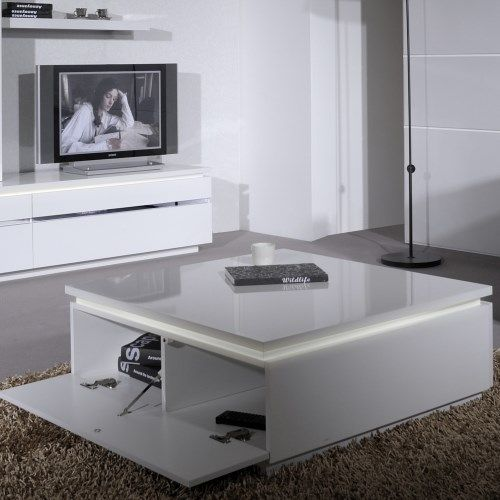 Skylight Electra High Gloss Square Coffee Table In White Met